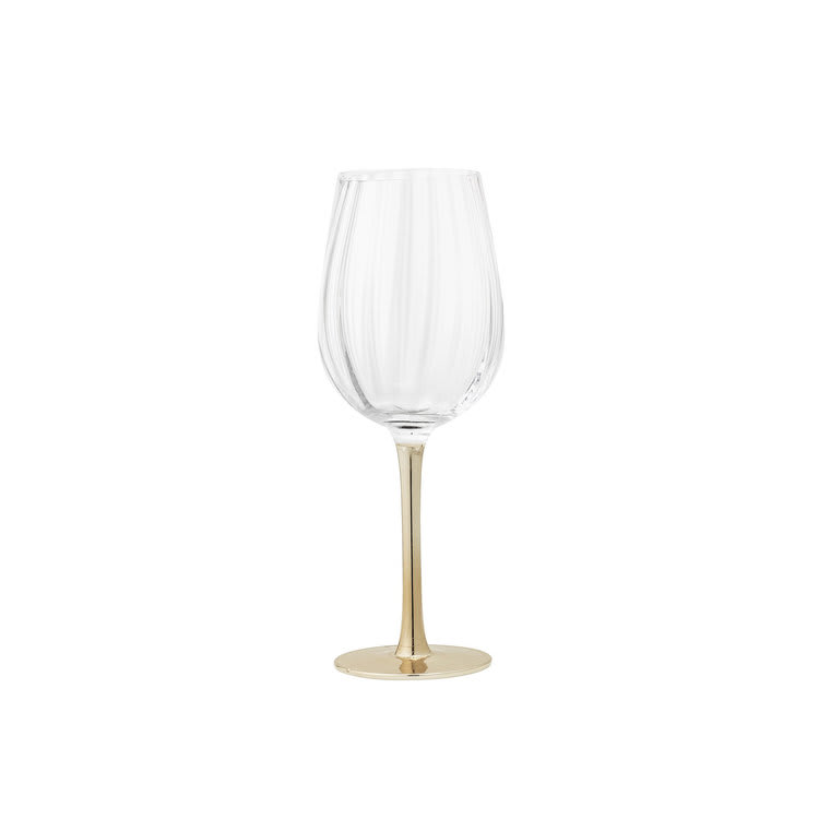 Bloomingville Set Of 2 Gold Stem Wine Glass