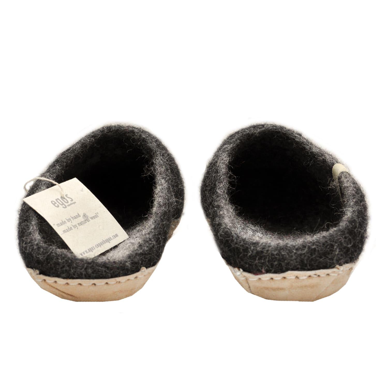 Egos Copenhagen Charcoal Handmade 100% Wool Felted Slippers