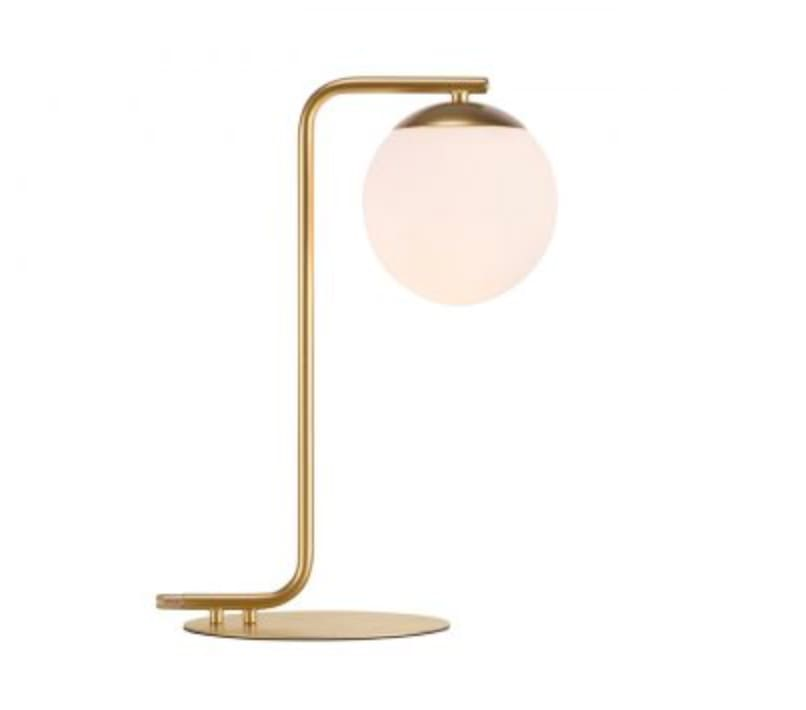 Nordlux Lighting Grant, Brass & Opal White Glass Table Lamp