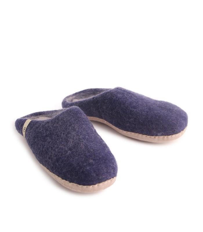 Egos Copenhagen Blue Felted Wool Slippers