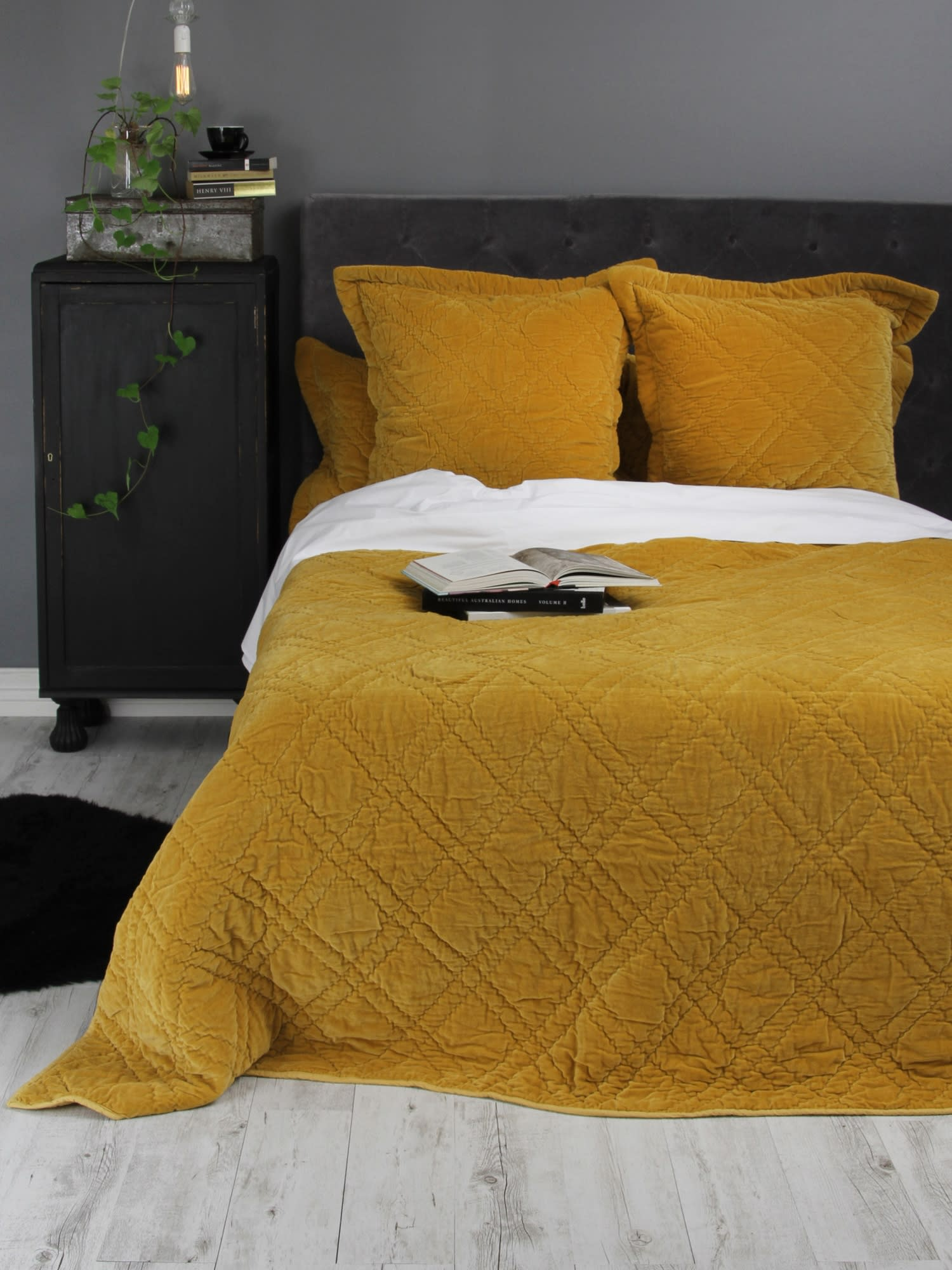 Wallace Cotton Large Mustard Plush Velvet Bedspread