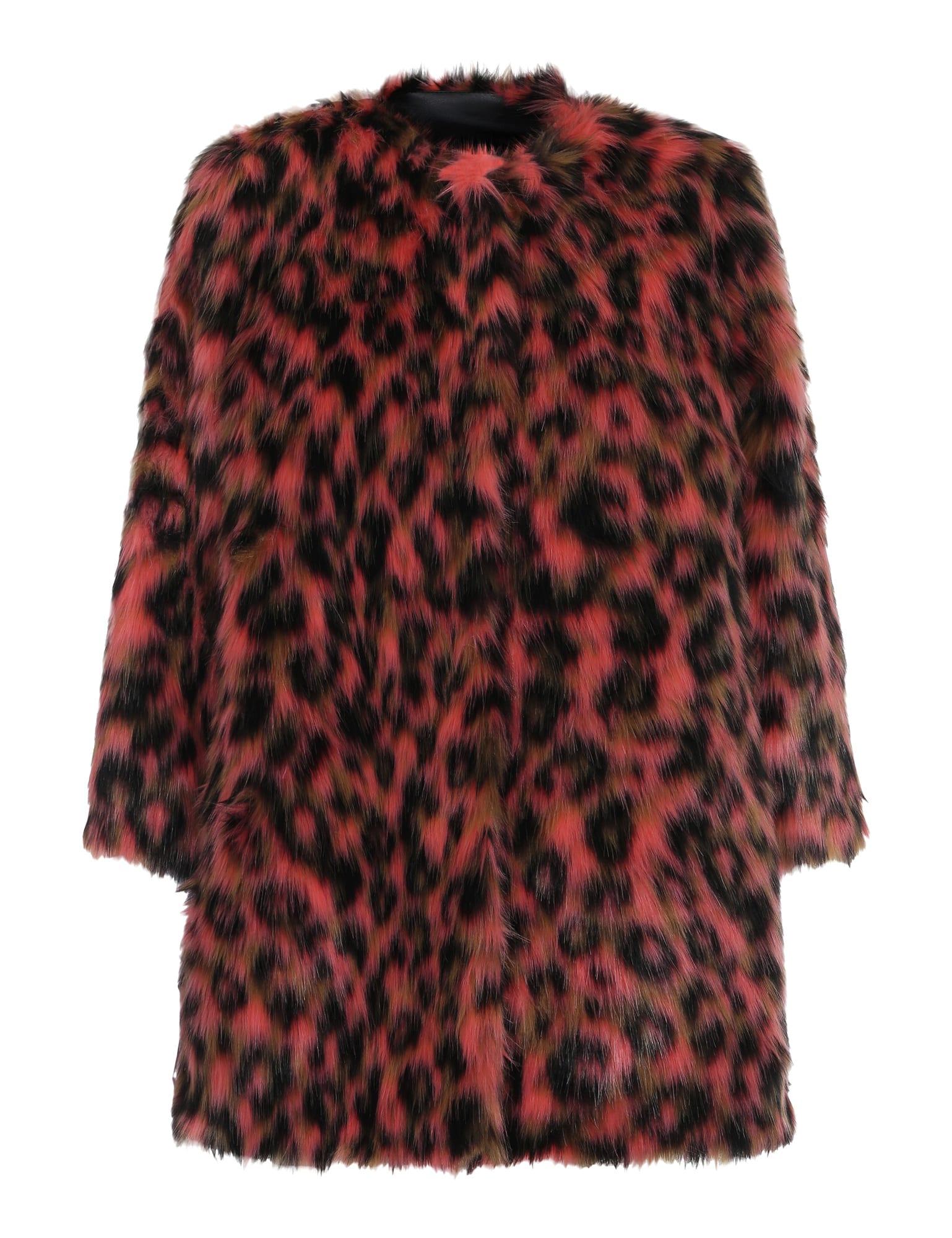 2nd Day Georgia Peach Leopard Say Faux Fur Coat