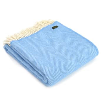 Tweedmill Sea Blue Pure New Wool Fishbone Throw