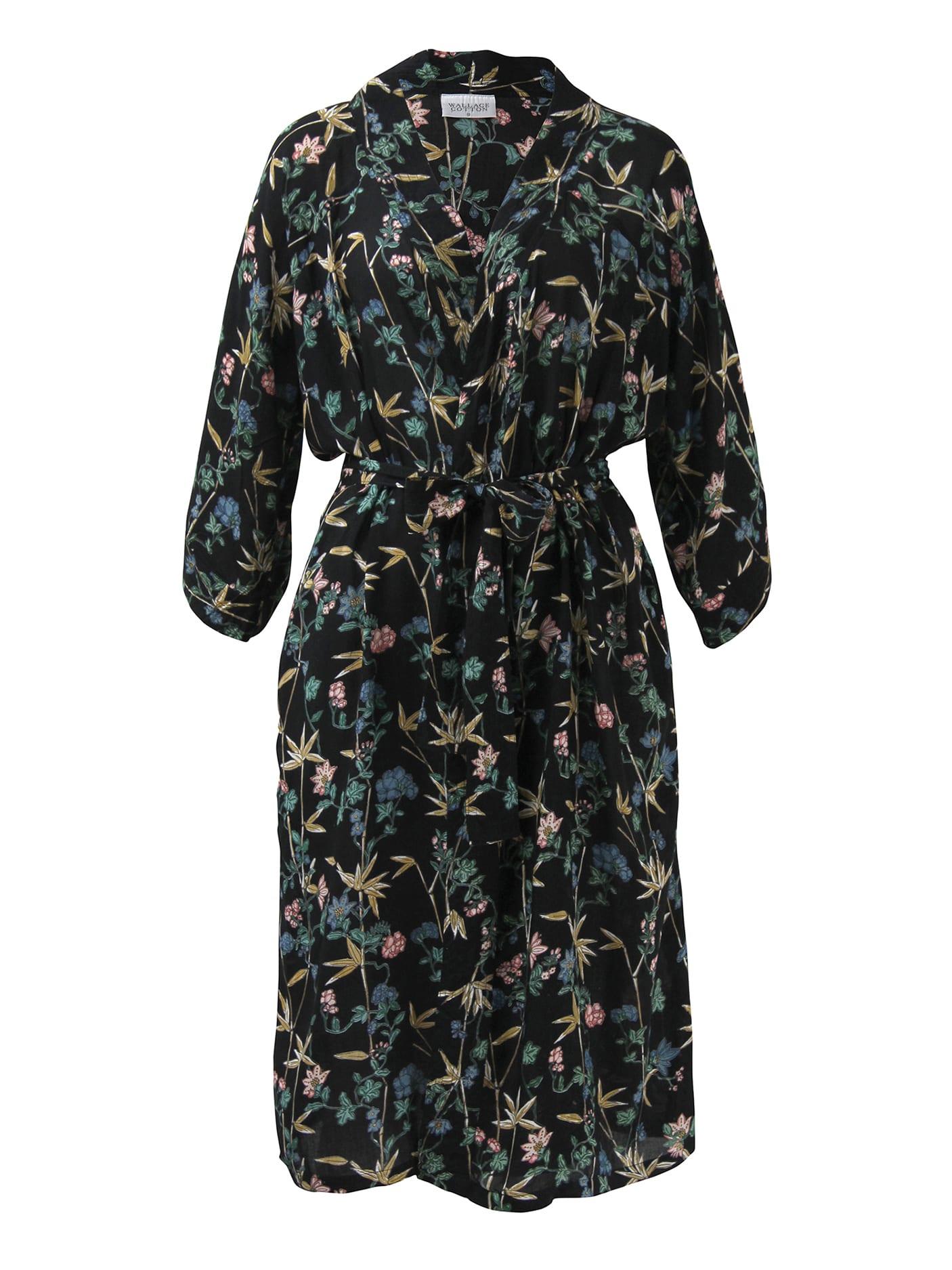 Wallace Cotton Black Mariella Kimono Robe
