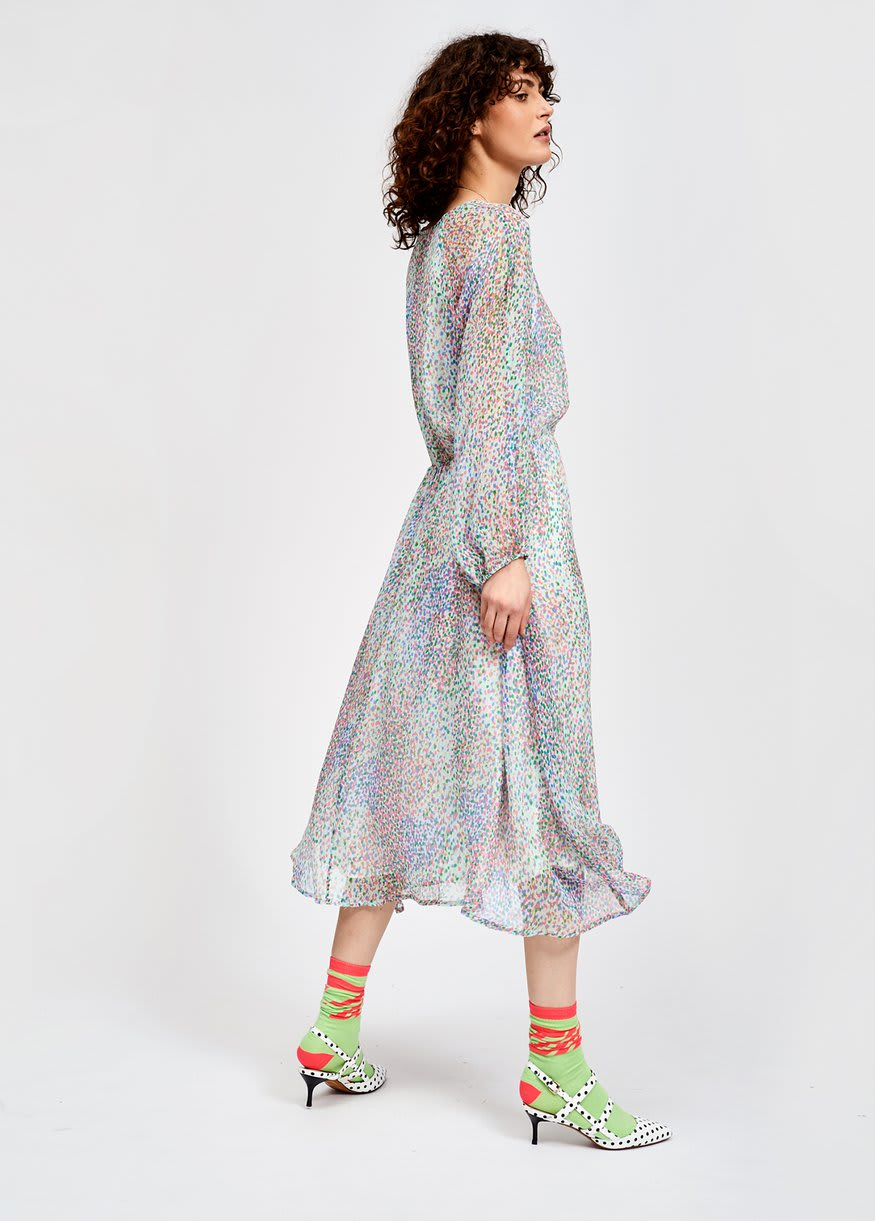 Essentiel Antwerp Shayna Mulitcoloured Dotted Silk Midi Dress