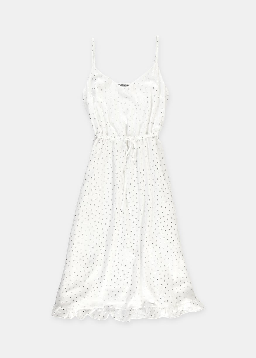Essentiel Antwerp Slippe White Slip With Silver Dots Dress
