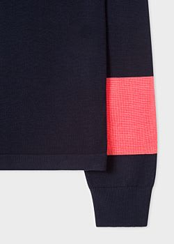 PS by Paul Smith Dark Navy V-Neck Cotton-Blend With Striped Sleeves Sweater