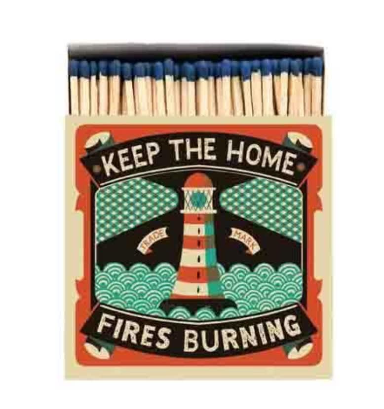 Archivist Keep The Home Fires Burning Luxury Matches In A Square Box with a Lighthouse On The Front