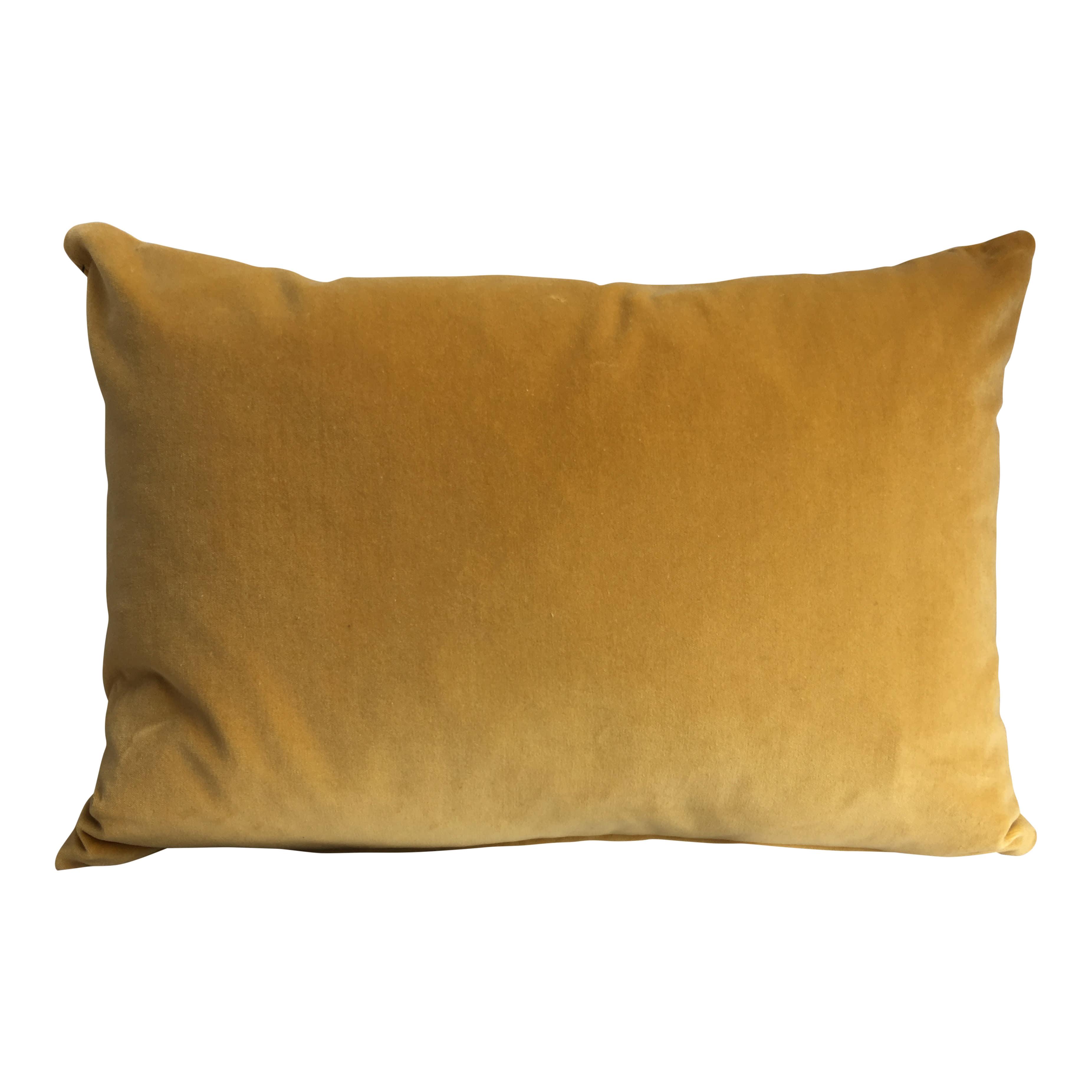 The Hackney Draper Long Tumeric Velvet Cushion
