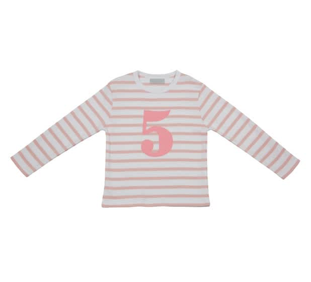 Bob and Blossom Dusty Pink & White Breton Striped Number 5 T Shirt