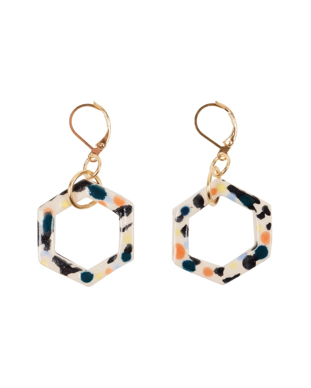 Aliyah Hussain AHJ x OKLA Ceramic Hexagon Earrings