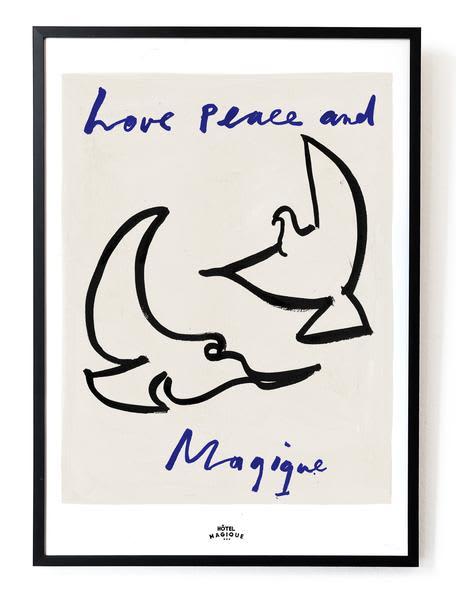 Hotel Magique Love, Peace And Magique Framed Art Print