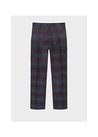 PS Paul Smith Slate Blue And Damson Tartan Wool Blend Trousers