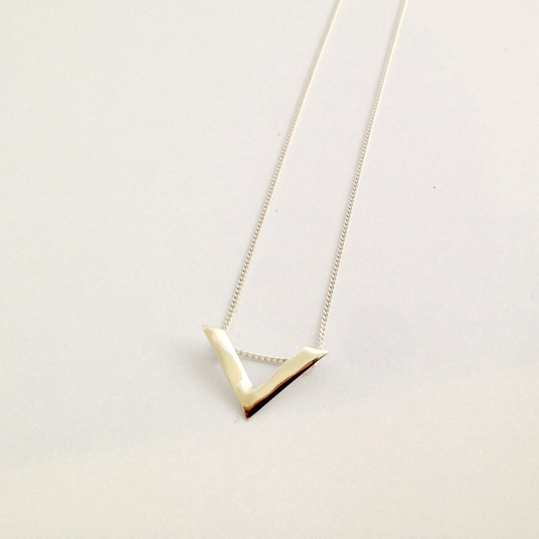 MDG Small Silver V Necklace