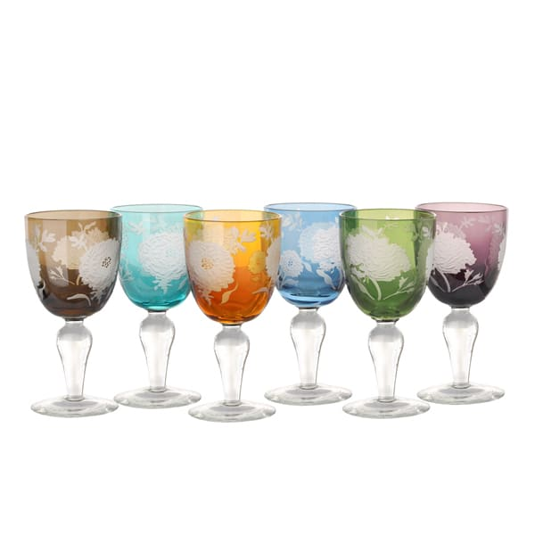 Pols Potten Set of Six 'Peony' Multi Coloured Etched Wine Glasses