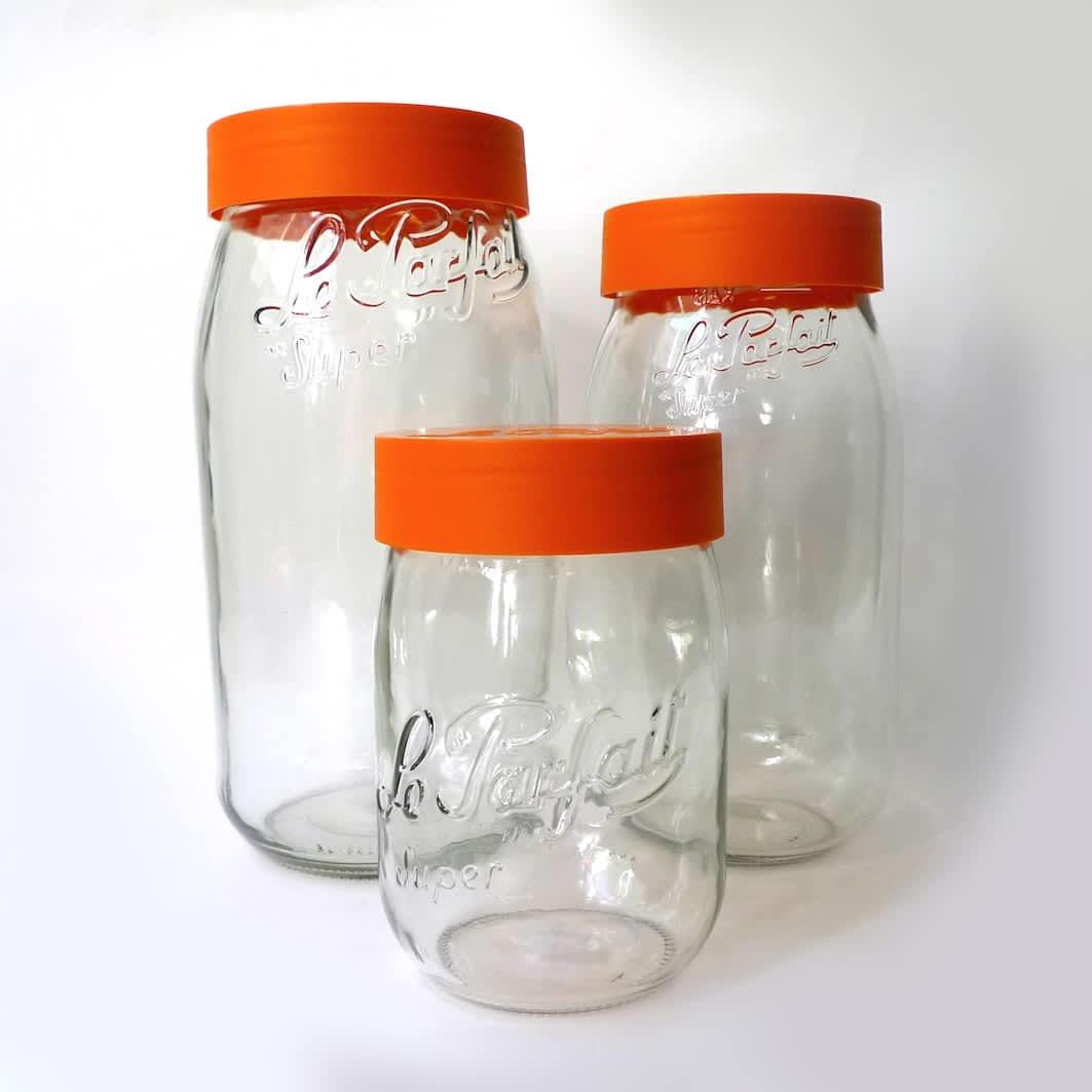 Le Parfait Le Parfait jar with orange lid - set of three