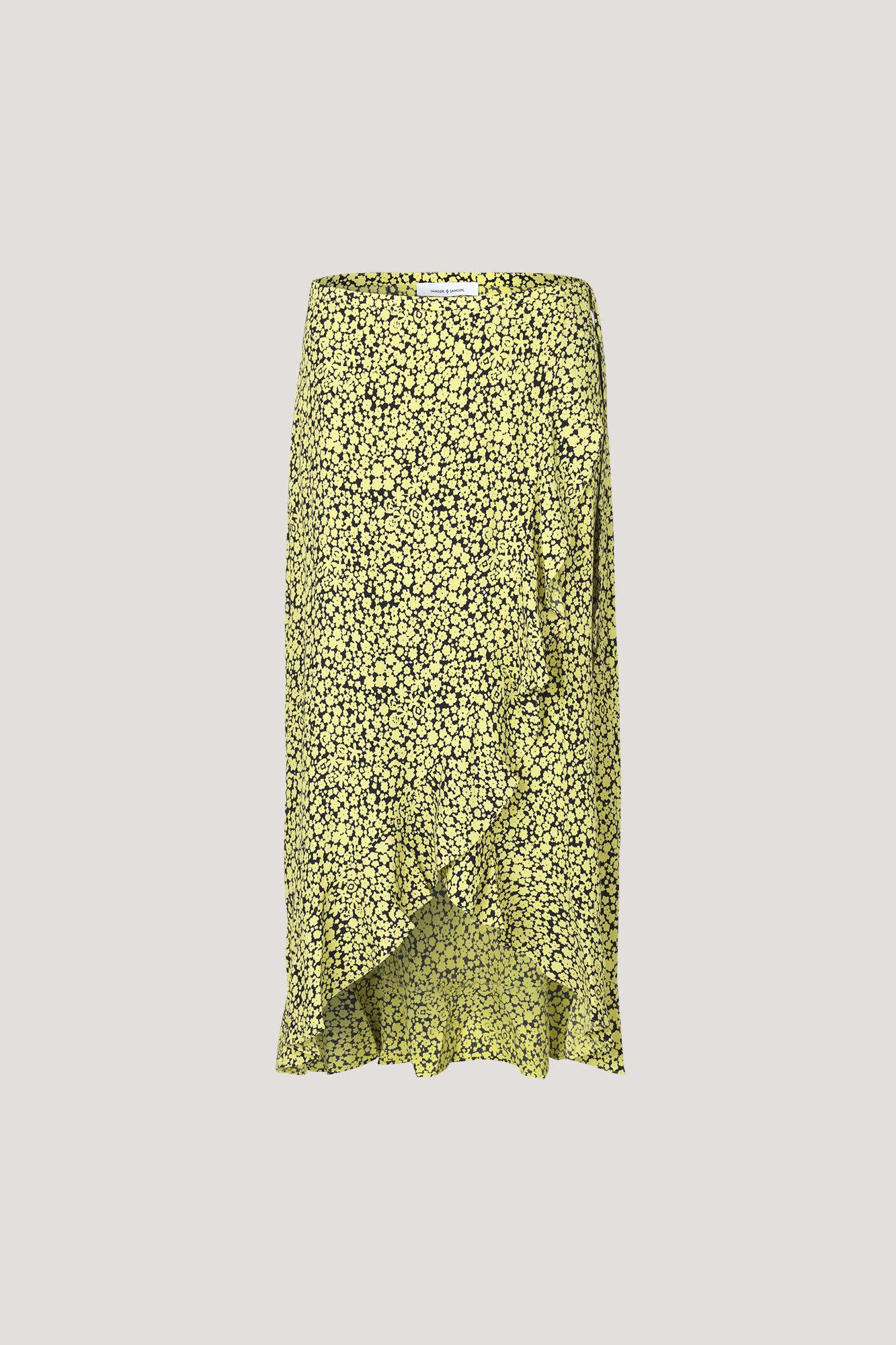 Samsoe & Samsoe Yellow Buttercup Print Limon Long Wrap Skirt