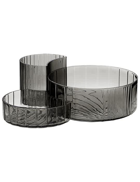 AYTM Set Of 3 Black Glass Concha Bowls