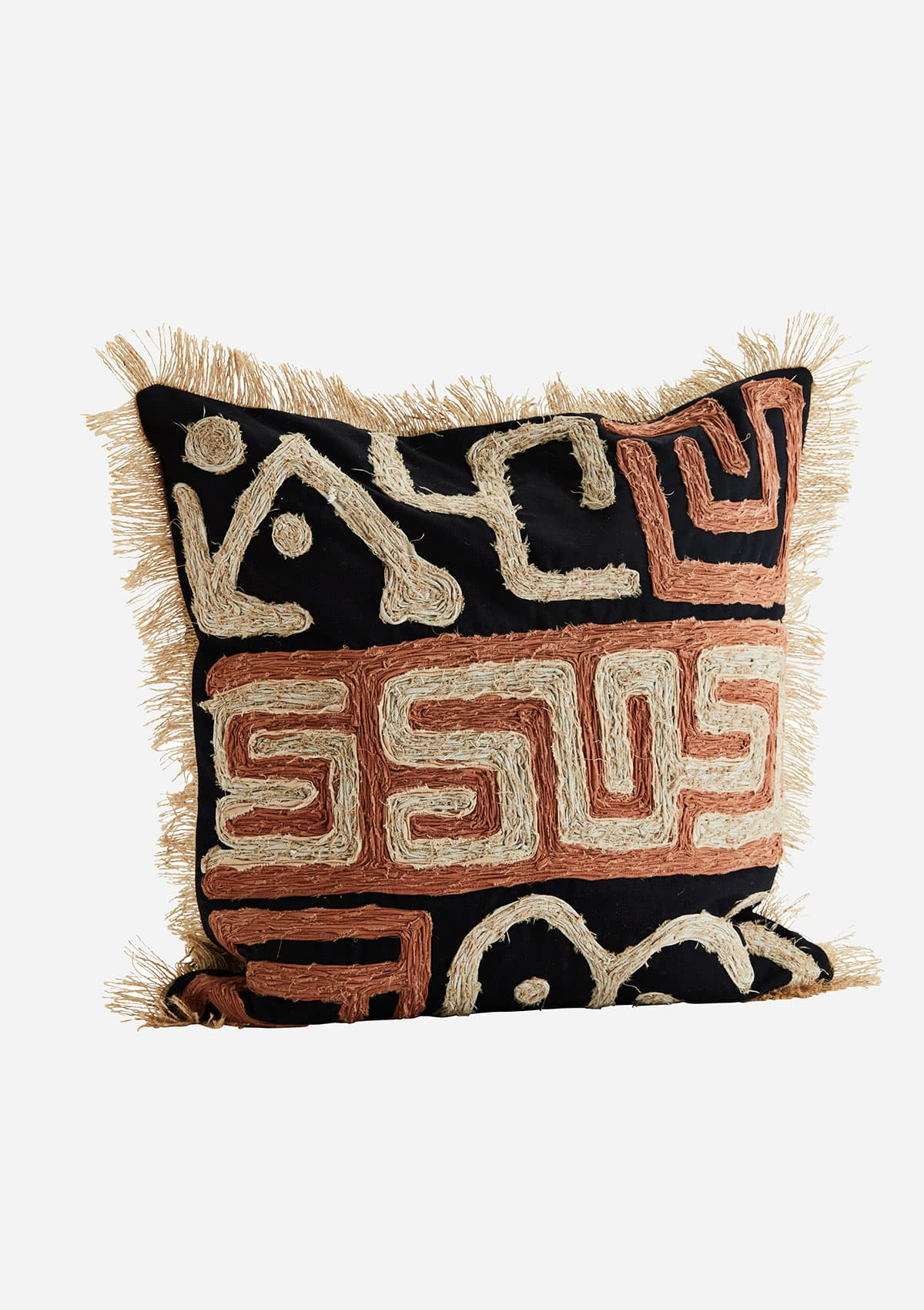 Madam Stoltz Cotton And Jute Cushion With Pattern And Tassel Detailing