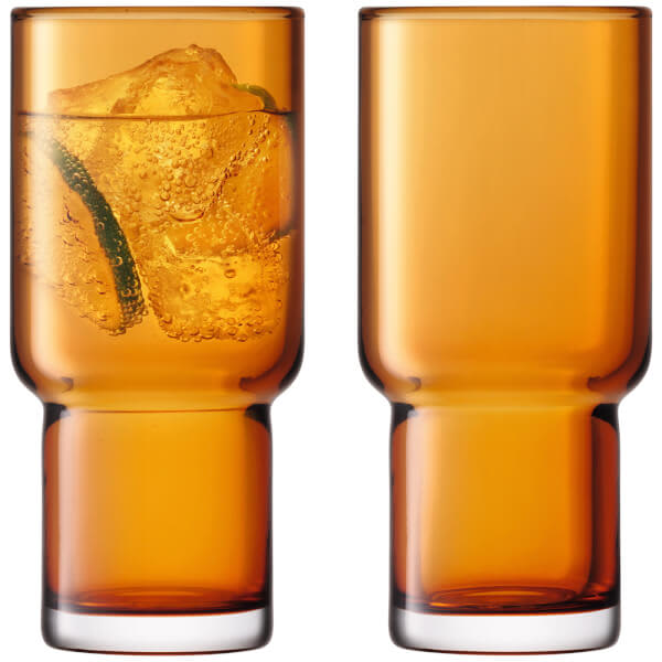 LSA International Amber Set Of 2 Utility Highball Glasses