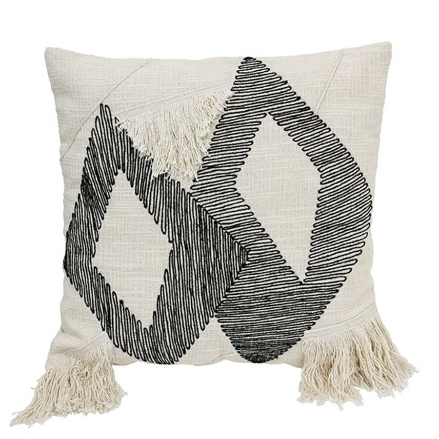HK Living Cushion Triangle Black White With Fringes