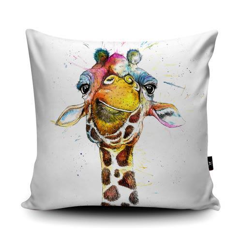 Wraptious Faux Suede Splatter Rainbow Giraffe Cushion