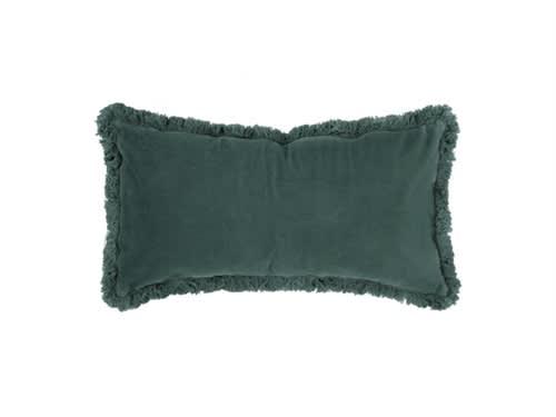 Present Time Blue Cushion luxurious velvet fringes
