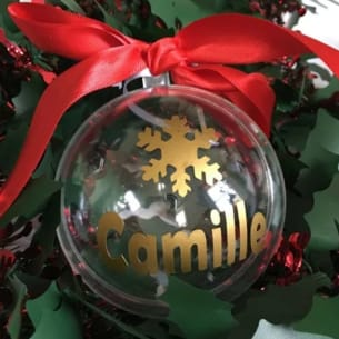 Christmas bauble in clear plastic