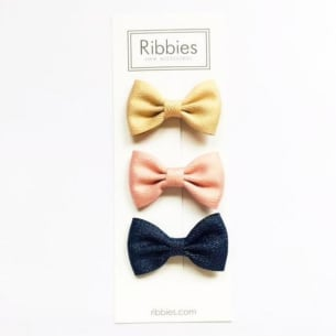 Set of 3 Sparkly Bows - Gold, Blush & Navy