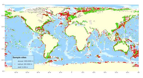 Distribution of all survey sites that collected biodiversity data. Picture: Dr Tim O'Hara, Museum Victoria