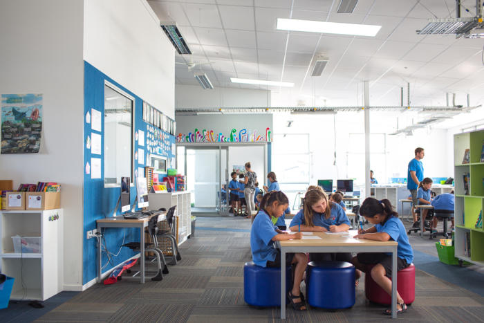 Stonefields School, Auckland, NZ. <strong>Shared spaces enable collaborative teaching and student directed learning</strong>. Architect: Jasmax. Picture: Alex de Freitas.
