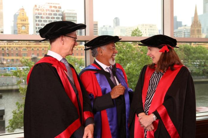 L-R: Professor Andrew Walter, University of Melbourne; the Honorable Kay Rala Xanana Gusmão; Professor Helen Sullivan, Foundation Director of the Melbourne School of Goverment