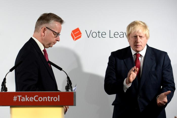 Michael Gove (left) and Boris Johnson hold a press conference in London on June 24, 2016, after the Leave vote won. Picture: Stefan Rousseau/WPA Pool/Getty