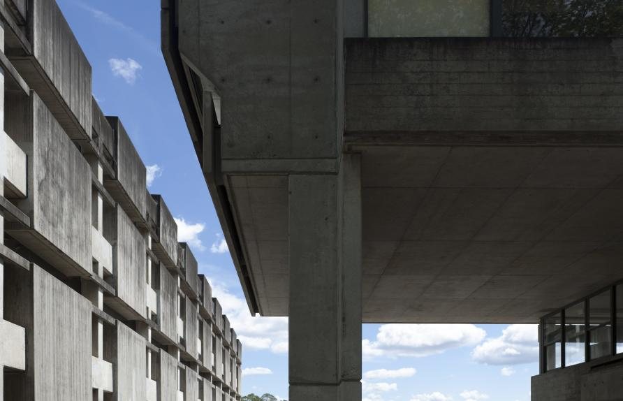 Macquarie University campus features strong off-form concrete and brick building