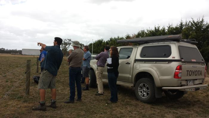 Dr Brendan Cullen (second from right) and Dr Margaret Ayre (far right) chat with farmers in Gippsland during a workshop. Picture: Gillian Hayman