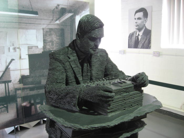 A statue of Alan Turing, made of slate by Stephen Kettle. Picture: Jon Callas