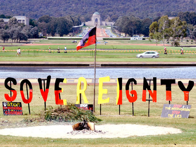 Near the Aboriginal Tent Embassy in Canberra. Picture: AAP