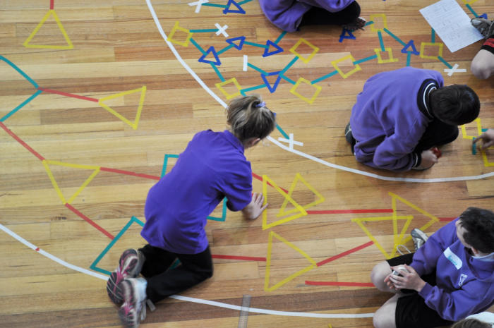 In 'Experiment 0', primary school students followed a set of rules combined with chance to build a complex pattern. Image courtesy Briony Barr.