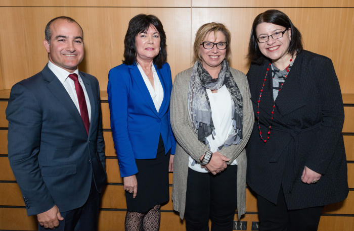 Victorian Education Minister James Merlino, CEO of Our Watch Ms Mary Barry, domestic violence campaigner Rosie Batty and Victorian Minister for Families and Children Jenny Mikakos, at the launch of the Resilience, Rights and Respectful Relationships curriculum.