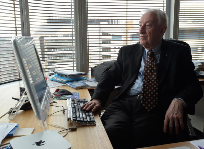 Professor Doherty in his offices at the Doherty Institute. Picture: Paul Burston