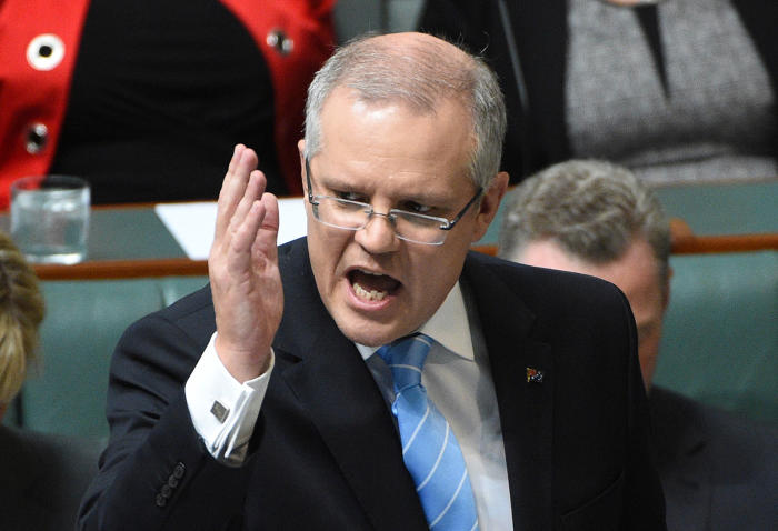 Treasurer Scott Morrison during Question Time in Parliament. Picture: Mick Tsikas/AAP