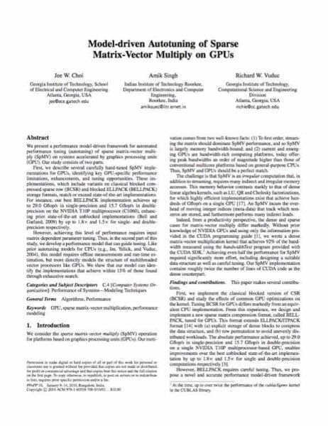 TheyMadeThat - Model-driven autotuning of sparse matrix