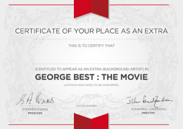 Be in the Movie in a scene featuring George!