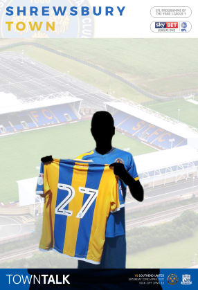 Mock-up STFC Programme Cover with you signing for the Shrews