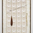 ektor garcia, teotihuacan (detail), 2018, welded steel, waxed thread, cotton, bone crochet hook, upholstery needle, spur, welded frame, crochet white lace, and loose parts embedded attached to lace, 31 1/2 x 77 1/2 x 11 in. (80 x 196.8 x 27.9 cm)
