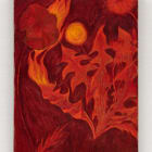 Srijon Chowdhury, Poppy and Dandelion on Fire, 2020, oil on linen, 12 x 9 in. (30.48 x 22.86 cm)
