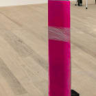 Cassie Raihl, SLICE, 2013, cast foam, spray paint, glass, plastic wrap, 39 × 8 × 8 in.