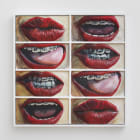 Gina Beavers, Who has braces, 2014, acrylic and wood on canvas on panel with wood frame, 31 x 31 in.