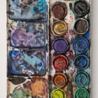 Gina Beavers, Watercolor tray palette, 2018, acrylic on linen over panel, 24 x 18 in.
