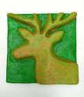 Fluorescent Orange and Metallic Green Squiggle on Green Deer Landscape